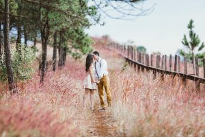 coppia felice nella campagna